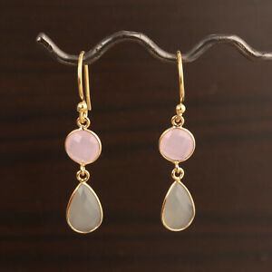 Faceted Pink Round Gray Pear Chalcedony Gold Plated Drop Dangle Earring Jewelry