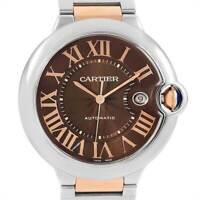 Cartier Ballon Bleu 42mm 18k Rose Gold/Steel Watch Box & Papers W6920032 3001