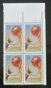 US SCOTT #2560 29c PLATE BLOCK OF 4 - 1991 BASKETBALL CentsENNIAL MNH FREE SHIP