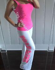 Victoria Secret Love Pink Tank Top White 86 Jersey Vintage Flare Sweatpants Set