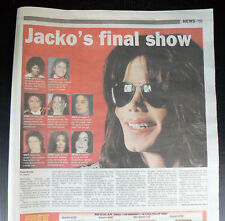 MICHAEL JACKSON 2009 newspaper article clipping London shows 16 wks before death