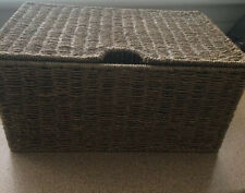 """Seagrass rectangle basket with lid storage handles 16"""" x 11""""x8"""""""