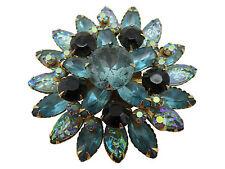 Vintage Brooch Pin Aqua Teal Blue Black AB Crystal Rhinestone Gold 556g