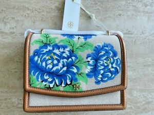 Tory Burch Emerson Ditsy Floral Convertible Blue Linen Gold Shoulder Bag NEW