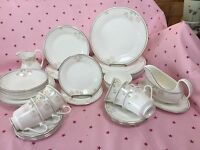 ROYAL DOULTON - TEA SET AND TABLEWARE H5096 ' TWILIGHT ROSE ' ENGLISH BONE CHINA
