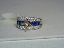 14K WHITE GOLD 1.25 CTW SAPPHIRE & DIAMOND DIAMOND ENGAGEMENT SEMI MOUNT RING