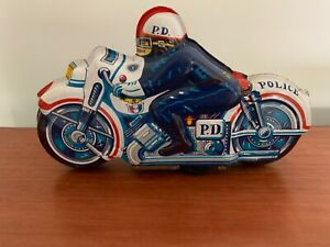 Vintage Toy Tin Lithograph Friction Powered Police Motorcycle Made in Japan