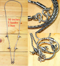 4mm 9 hook 32 inches Stainless Steel Necklace Solid for Thai amulet handmade**1