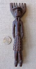 Vintage Guatemalan Carved Wood Slingshot/Woman with Plaid Skirt/7""