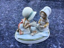 Holly Hobbie Designers Collection Porcelain Figurine - Girls Having a Tea Party