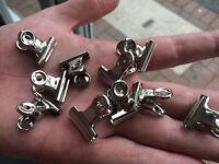 100 x Mini Bulldog Clips Letter Clips Grip Clips Chrome 22mm [10 Packs of 10]
