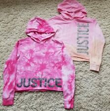 NWT JUSTICE Girls 12//14 Pink//Coral Dyed Glitter Hoodie Sweatshirt