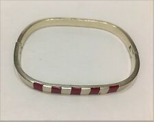 Vintage Bracelet Sterling Silver Hinged Bangle Taxco Mexico Red Coral 21.4g 7""