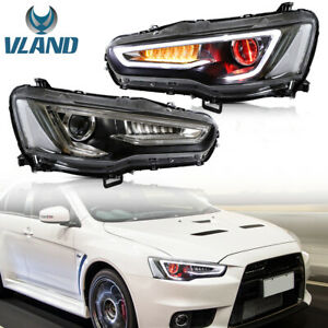 Demon Eyes LED DRL Projector Sequential Head Lights For 08-17 Mitsubishi Lancer