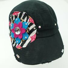 Pinky Bolle Patch Flower Women's Army Cap Hat Adjustable Black