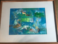 "Nice ""Abstract Scene"" Oil On Paper Painting - Framed"