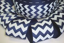 2 1/4 Patriotic Dark Navy White Chevron Zig Zag Stripe Grosgrain Ribbon 4 Bow