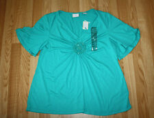 NWT Womens ECI Green Teal Beaded Blouse Shirt Size L Large