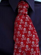 Nuevo Goth Rojo Blanco Calaveras Seda Boda Cravat que ata uno mismo Edición Limitada Rock, Regalo
