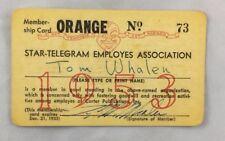 1953 Fort Worth Star Telegram Editor Journalist Tom Whalen Memebership Card