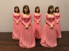 5 Vintage Bridesmaid Pink Dress Cake Topper Cake Decoration Lot # 19