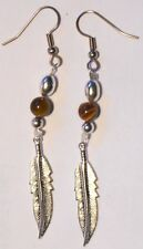 """Navajo Silver Eagle Feather earrings 2¼"""" & Tiger Eye bead by Roseanne Manygoats"""