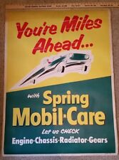 VINTAGE GAS OIL SIGN WINDOW POSTER 1950s HEAVY PAPER MOBILE CARE ADVERTISING