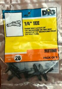"DIG 1/4"" Tee Fitting, Pack of 5, Model H82A"