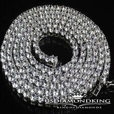 "MEN WOMEN 14K WHITE GOLD FINISH MENS 1 ROW SIMULATED DIAMOND NECKLACE CHAIN 30"""