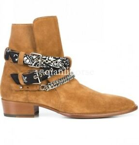 Real cow suede leather high top chelsea heel cuban ankle boots shoes chain strap