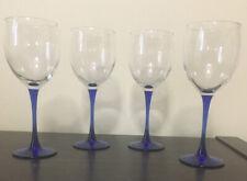 "Set of 4 Cobalt Blue Stem Wine Glasses 8"" Wine Glass"