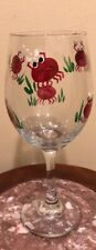 Wine Glass 10oz Hand Painted Maryland Blue Crabs PreOwned
