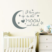 I Love You to the Moon and Back Wall Decal Moon Stars Stickers Nursery Decor F1