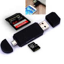 Micro USB OTG to USB 2.0 Adapter SD/Micro SD Card Reader +Standard USB Male USA