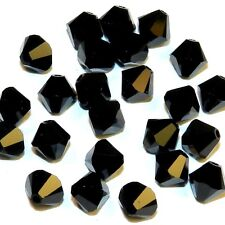 SCB544f Jet Opaque Black 6mm Faceted Xilion Bicone Swarovski Crystal Beads 24pc