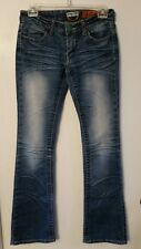 Women's INDIGO REIN BootCut Faded Distressed Stretch Cowgirl Rocker Jeans SZ 3