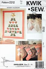 Christmas Holiday Advent Calendar Quilt Angel Stockings Pattern 2212 by Kwik Sew