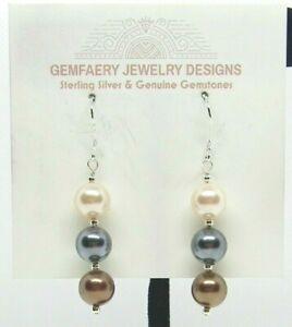 Sterling Silver Multi-Color SHELL PEARL Dangle Earrings #5413...Handmade USA