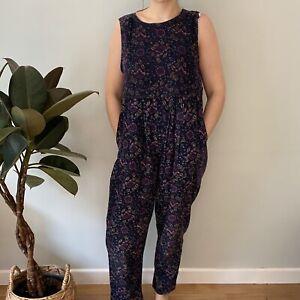 Laura Ashley M 12 14 16 cotton corduroy purple floral dungaree playsuit vintage