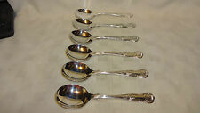 Vintage Set Of 6 Silver Plated Kings Pattern Soup Spoons 17.7cm (ref 2)