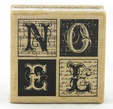 Noel Blocks Wood Mounted Rubber Stamp Hot Fudge Studios NEW christmas holiday