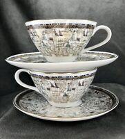 Vintage Mikasa Narumi Bone China Tea Cups & Saucers~ Gold Rim Abstract MCM Mod 2