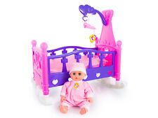 ROCKING BED COT CRIB BABY DOLL SET TOY CRADLE GIRLS GIFT KP2957  PRETEND PLAY