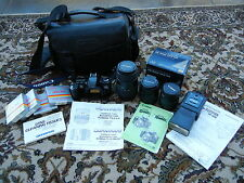 CANON EOS REBEL XS 35MM Film Camera: 3 lens~TLL Flash~4 Filters~Carry Case+ EPC