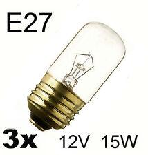 3x Glühlampe Glühbirne Leuchte Lampe Spezial E27 Röhre 12V 15W klar  346001