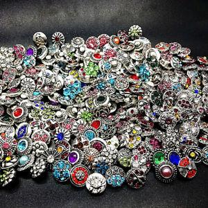 100 X Mix Lots Bulk Mini Size 12MM Rhinestone Snap Jewelry DIY Charms Buttons
