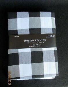 NWT Robert Stanley Farmhouse Christmas 84x60 Tablecloth Black/White Buffalo Chec