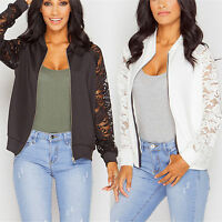 Womens Flower Lace Bomber Jacket Long Sleeve Zip Up Casual Short Biker Coat Tops