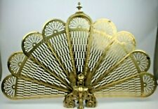 Vintage Brass Peacock FanStyle Fireplace Screen Ornate Gargoyles Foldable