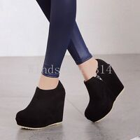 Womens Round Toe Side Zip Ankle Boots High Wedge Heel Platform Party Shoes Size